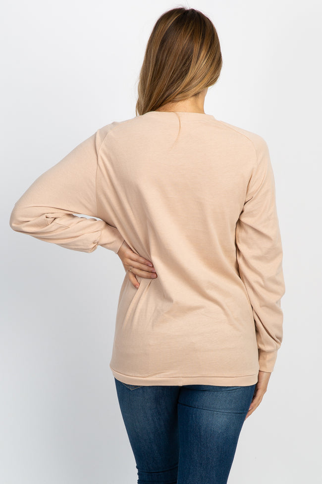 Beige Long Sleeve Front Tie Maternity Sweatshirt