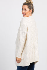 Cream Cable Knit Maternity Cardigan
