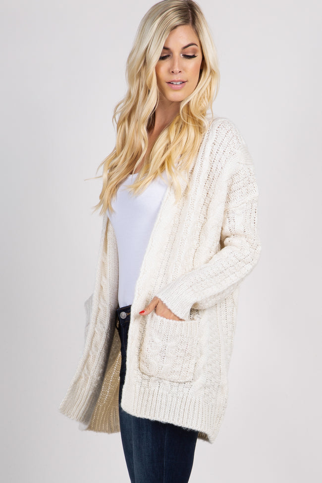 Cream Cable Knit Pocket Front Cardigan