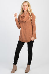 Rust Knit Cowl Neck Sweater