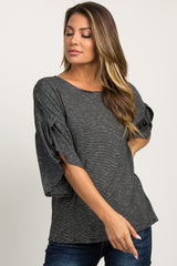 Black Pinstriped Layered Slit Sleeve Top