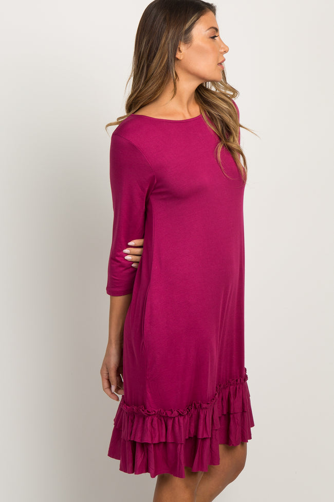 Magenta Layered Ruffle Hem Dress