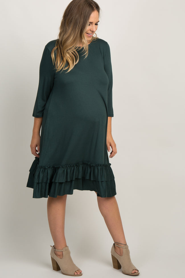 Green Layered Ruffle Hem Plus Maternity Dress