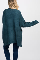 Teal Knit Pocket Front Maternity Cardigan