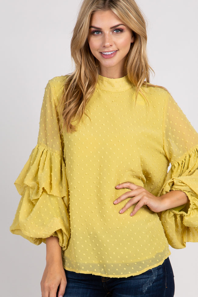 Yellow Swiss Dot Tiered Puff Sleeve Top