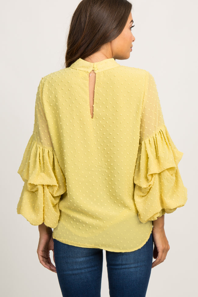 Yellow Swiss Dot Tiered Puff Sleeve Maternity Top