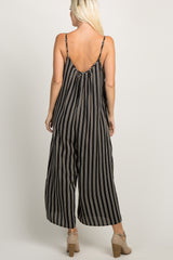 Black Striped Cami Strap Wide Leg Jumpsuit