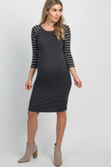 Charcoal Solid Striped 3/4 Sleeve Maternity Dress