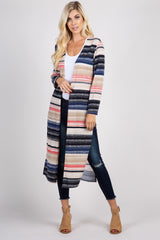 Multi-Color Striped Maternity Duster Cardigan