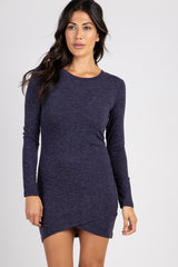 Navy Blue Heathered Fitted Dress