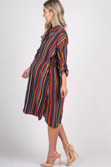 Multi Color Striped Button Up Maternity Dress