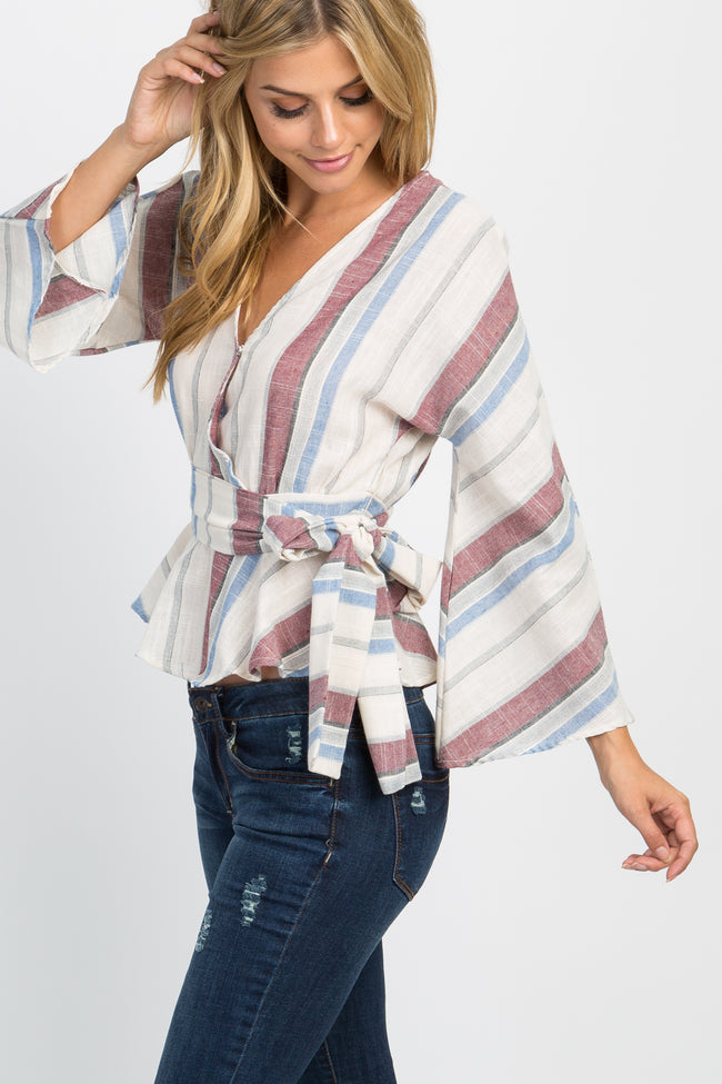 Blue Multi-Striped Sash Tie Bell Sleeve Top