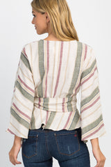 Olive Multi-Striped Sash Tie Bell Sleeve Top