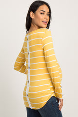 Yellow Striped Crochet Accent Long Sleeve Maternity Top