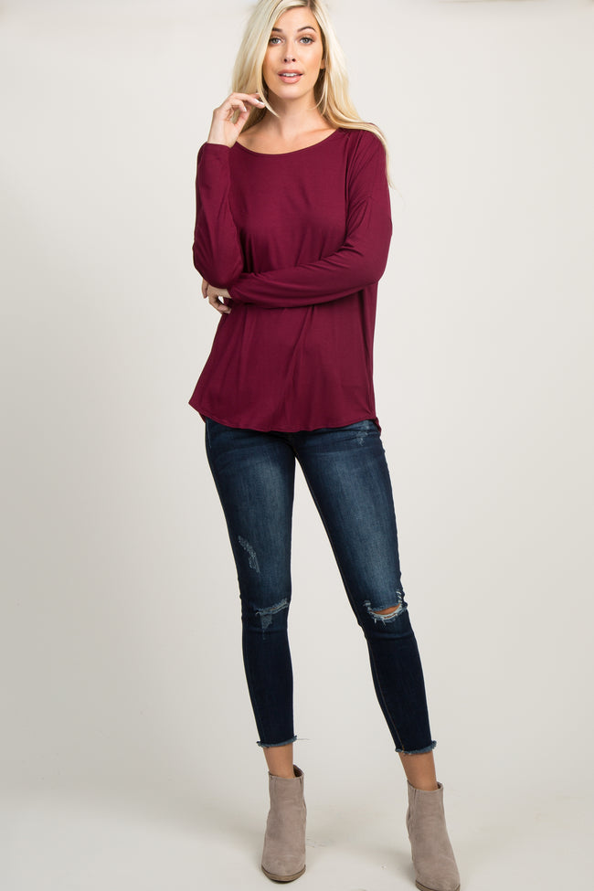 Burgundy Ladder Cutout Draped Back Top
