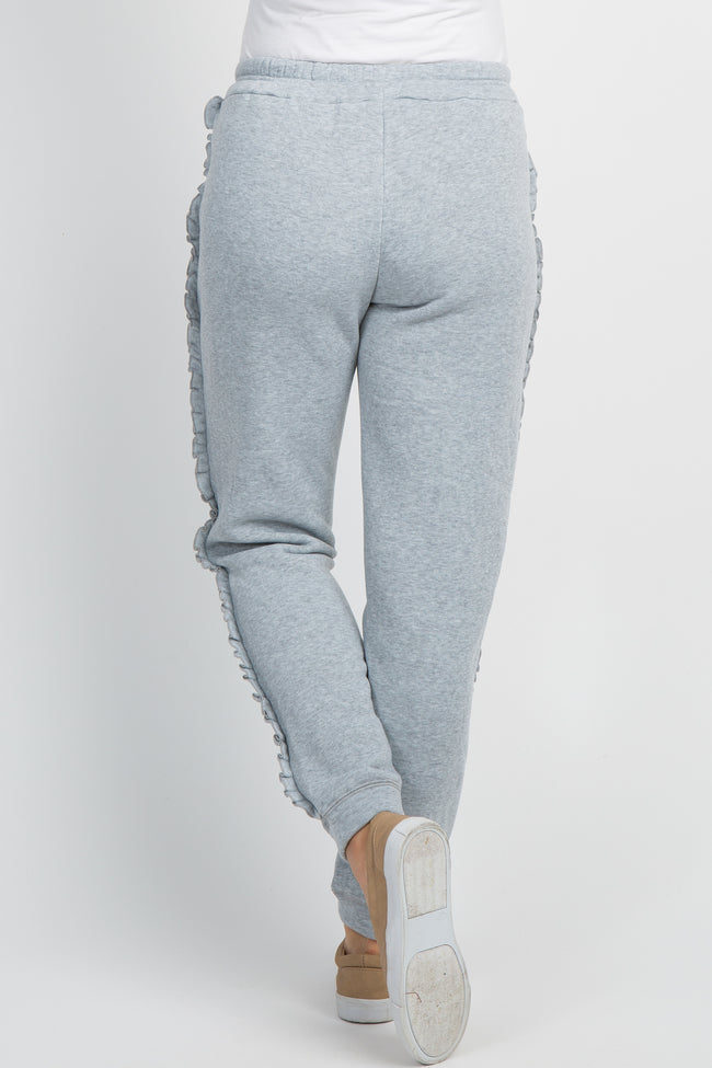 Heather Grey Ruffle Trim Maternity Sweatpants