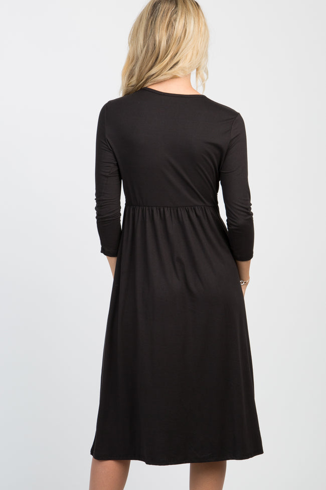 Black Twist Front 3/4 Sleeve Maternity Dress
