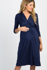 Navy Blue Twist Front 3/4 Sleeve Maternity Dress
