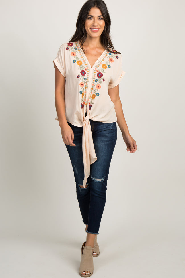 Beige Floral Embroidered Tie Front Blouse
