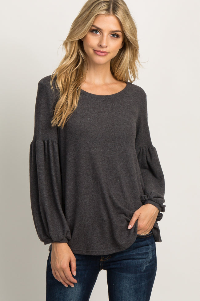 Charcoal Grey Solid Soft Knit Puff Sleeve Top