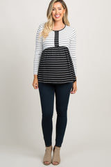 Black and White Striped Peplum Maternity Top