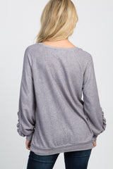 Grey Ruffle Sleeve Sweater