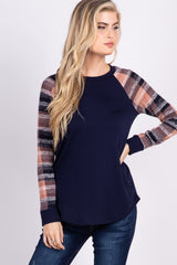 Navy Plaid Colorblock Top