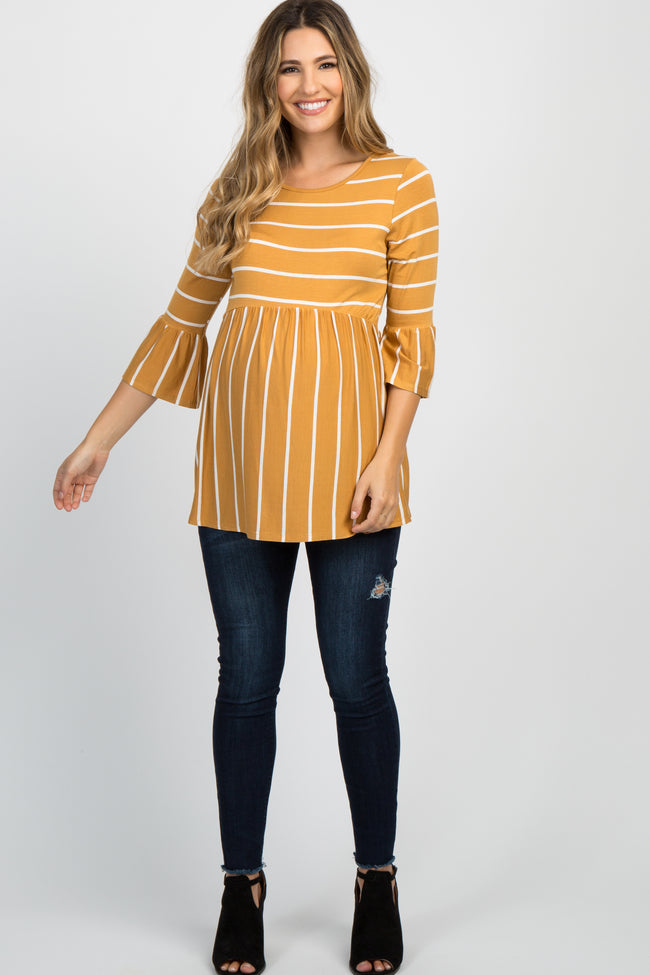 PinkBlush Mustard Striped Peplum Ruffle Maternity Top