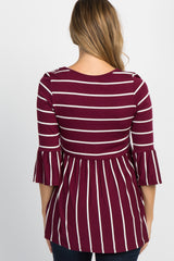 PinkBlush Burgundy Striped Peplum Ruffle Maternity Top