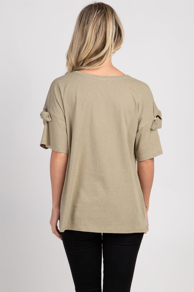 Light Olive Short Sleeved Bow Maternity Tee