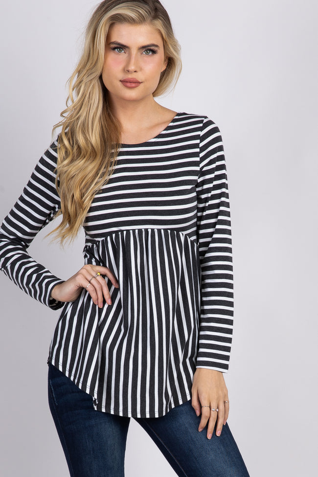 Charcoal Grey Striped Crisscross Back Peplum Top