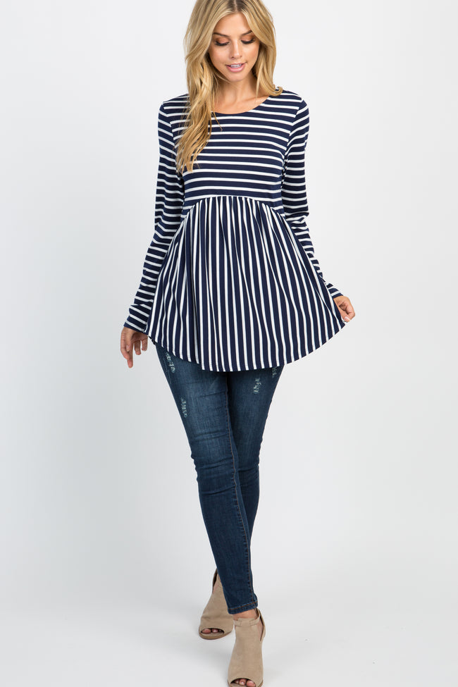 Navy Striped Crisscross Back Peplum Top