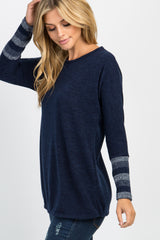 Navy Colorblock Striped Sleeve Top