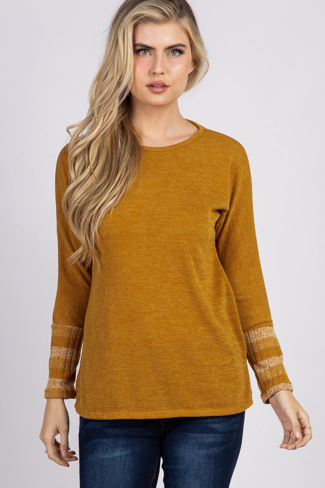 Mustard Colorblock Striped Sleeve Maternity Top