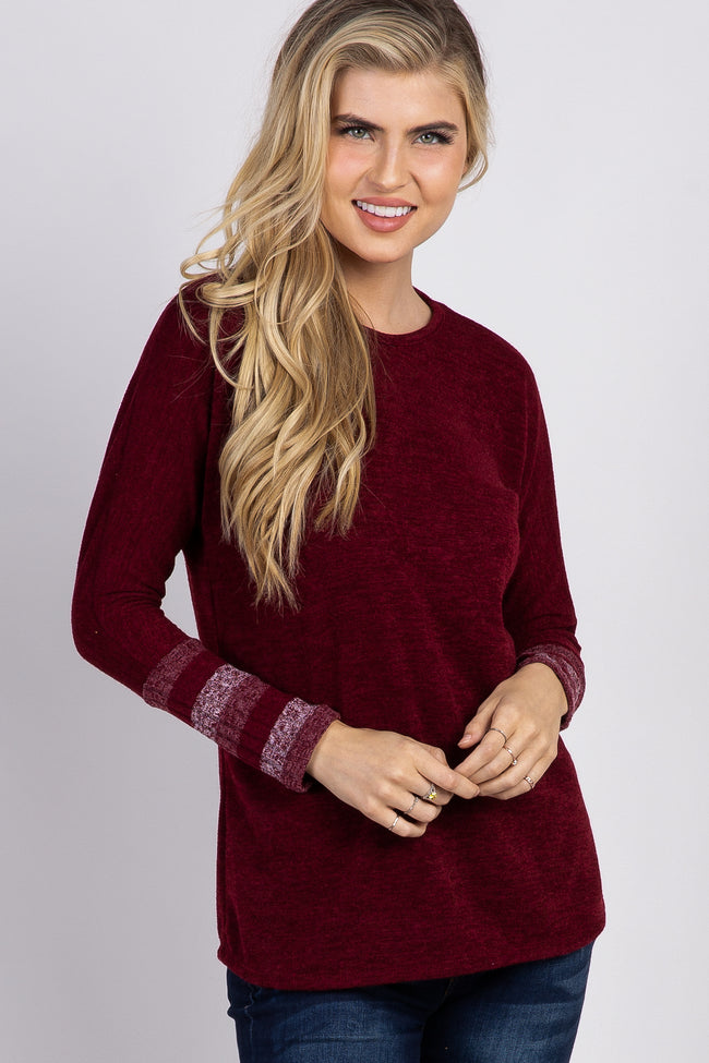 Burgundy Colorblock Striped Sleeve Top