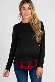 PinkBlush Black Solid Plaid Accent Long Sleeve Maternity Top