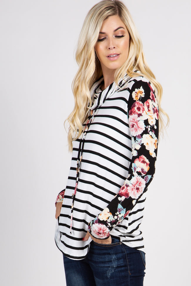 Black Striped Floral Accent Cowl Neck Top