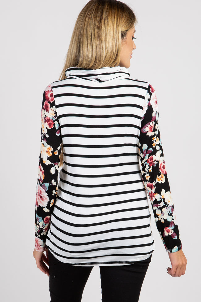 Black Striped Floral Accent Cowl Neck Maternity Top