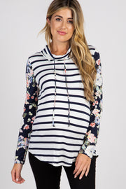 Navy Striped Floral Accent Cowl Neck Maternity Top