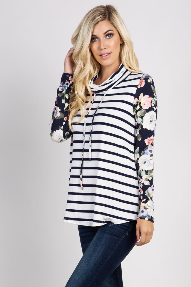 Navy Striped Floral Accent Cowl Neck Top