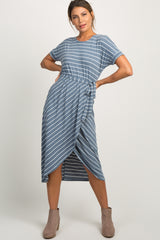 Blue Striped Wrap Hem Midi Dress