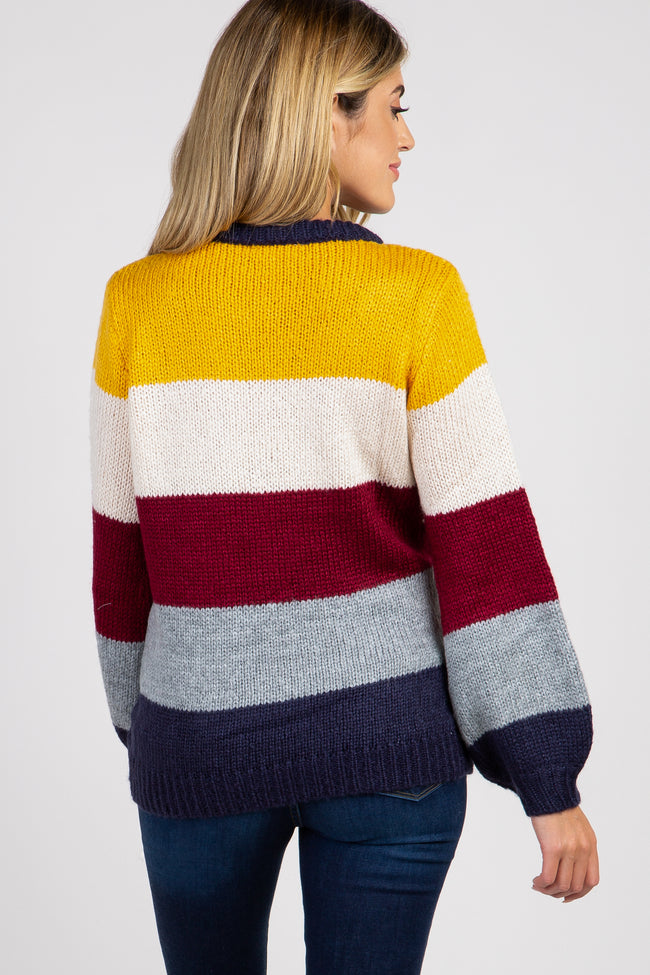 Yellow Colorblock Knit Puff Sleeve Sweater