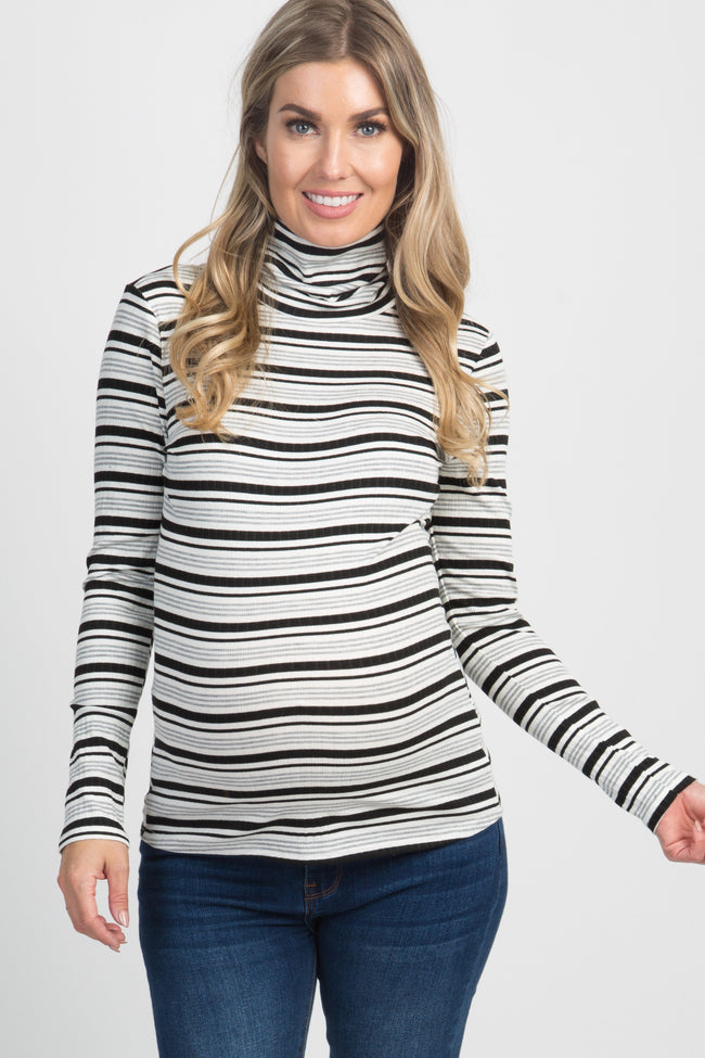 Black White Striped Ribbed Turtle Neck Maternity Top