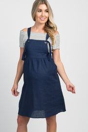 Navy Blue Linen Tie Front Maternity Overall Dress