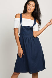 Navy Blue Linen Tie Front Overall Dress