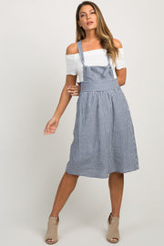 Blue Gingham Linen Tie Front Overall Dress
