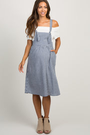 Blue Gingham Linen Tie Front Maternity Overall Dress