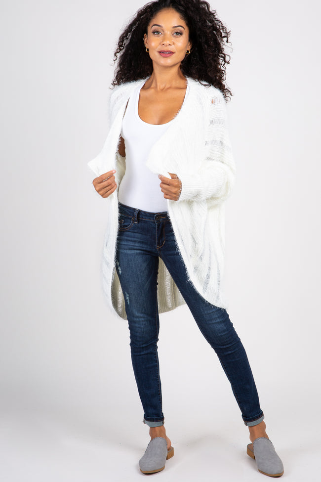 White Fuzzy Ribbed Knit Draped Maternity Cardigan