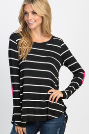Black Striped Suede Patches Top