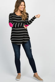 Black Striped Suede Patches Maternity Top